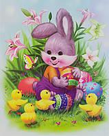 Лист с декоративными пасхальными наклейками на окно, зайцы и утки, 30*42 см (070274-1)