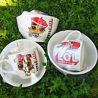 Набор детский с куклами Lol чашка 210 мл, салатник 500 мл