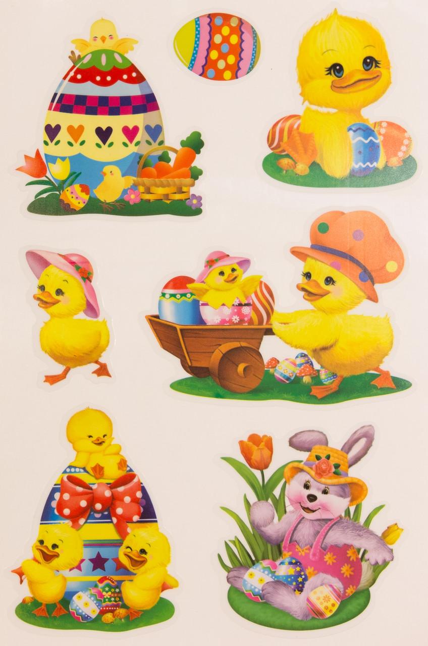 Лист с декоративными пасхальными наклейками на окно, утки и заяц, 20*30 см (070298-1)