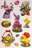 Лист с декоративными пасхальными наклейками на окно, зайцы и утки, 20*30 см (070298-2)