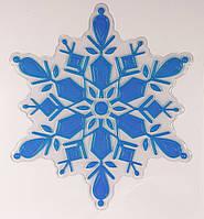 Лист с золотой декоративной новогодней наклейкой на окна, синий (070342-1)