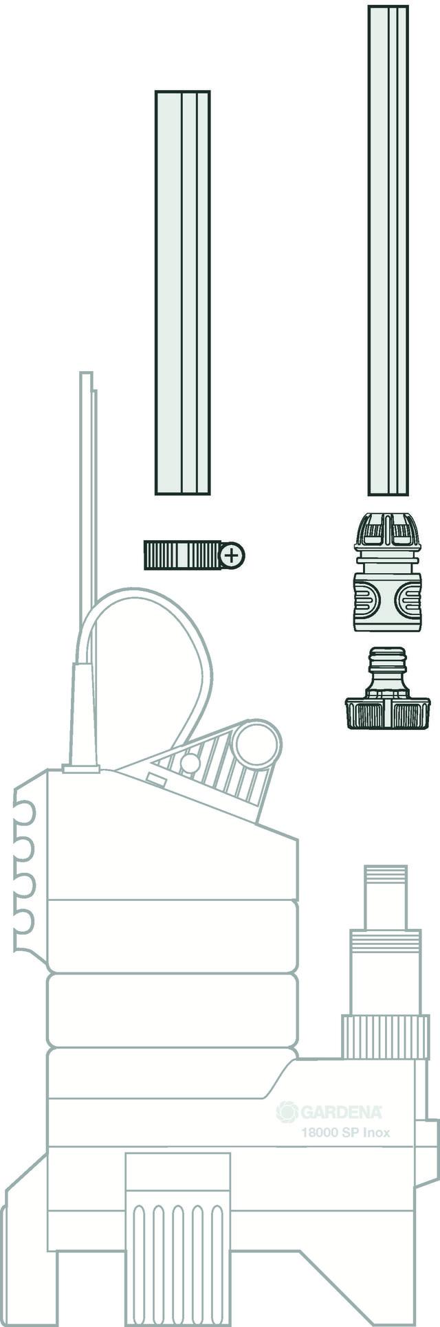 Насос дренажный для грязной воды Gardena 20000 Premium Inox варианты подсоединения к шлангу