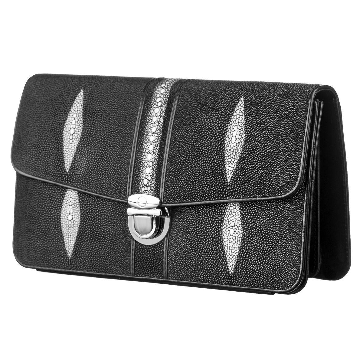 Барсетка Мужская Stingray Leather 18121 Из Натуральной Кожи Морского Ската Черная, Черный