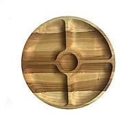 Доска для подачи блюд Менажница деревянная, круглая 04