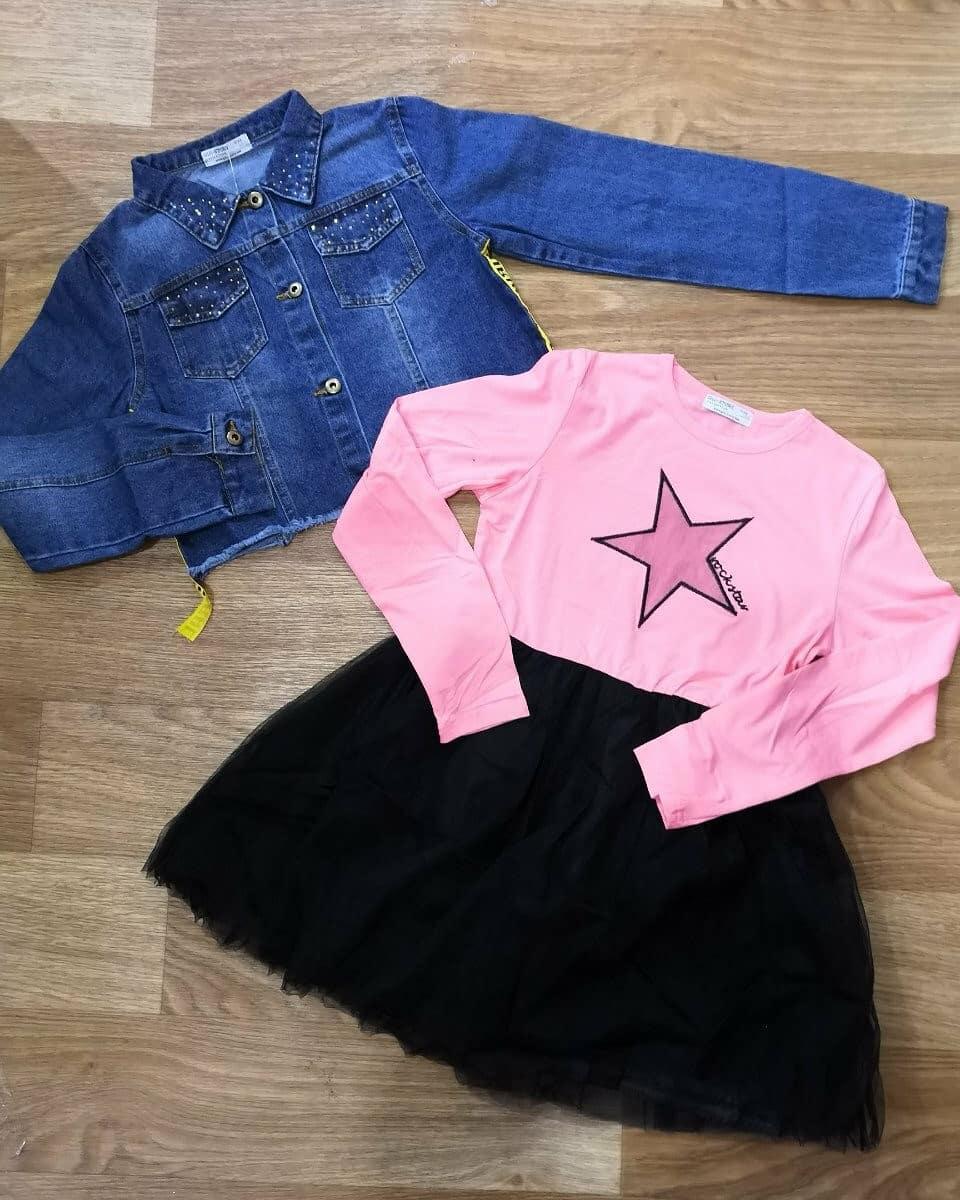 Костюм для девочки платье + джинсовый пиджак