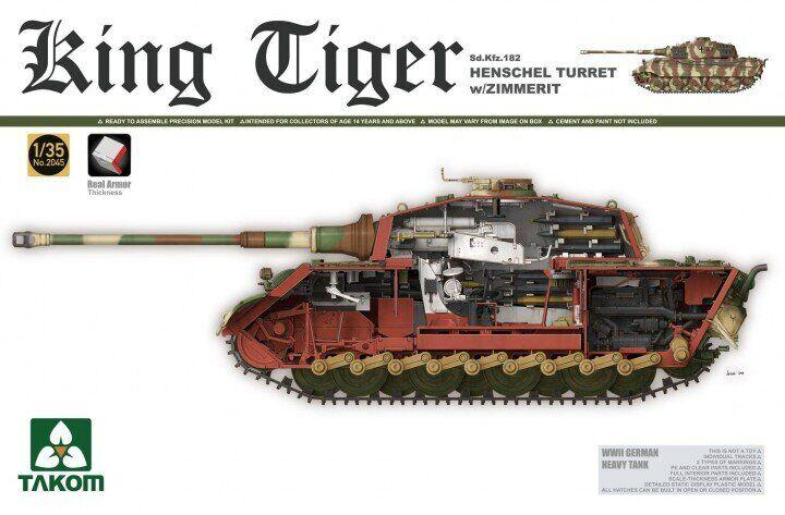 Королевский Тигр Sd.Kfz.182 с башней Хеншель в циммерите с полным интерьером. 1/35 TAKOM 2045