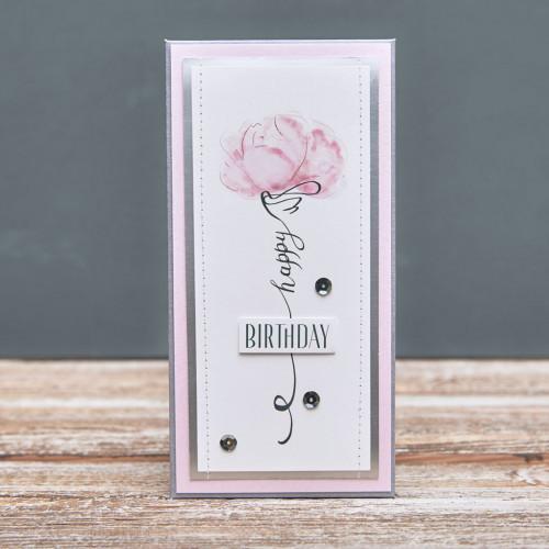 Открытка конверт Happy Birthday Розовый пион икебана
