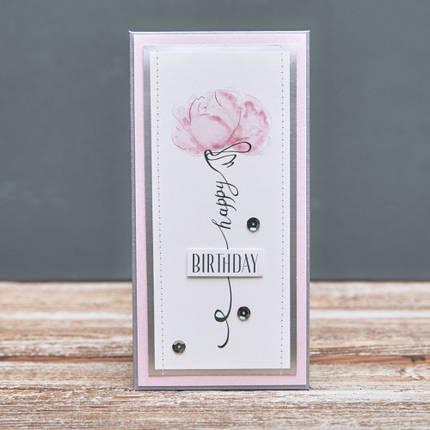 Открытка конверт Happy Birthday Розовый пион икебана, фото 2