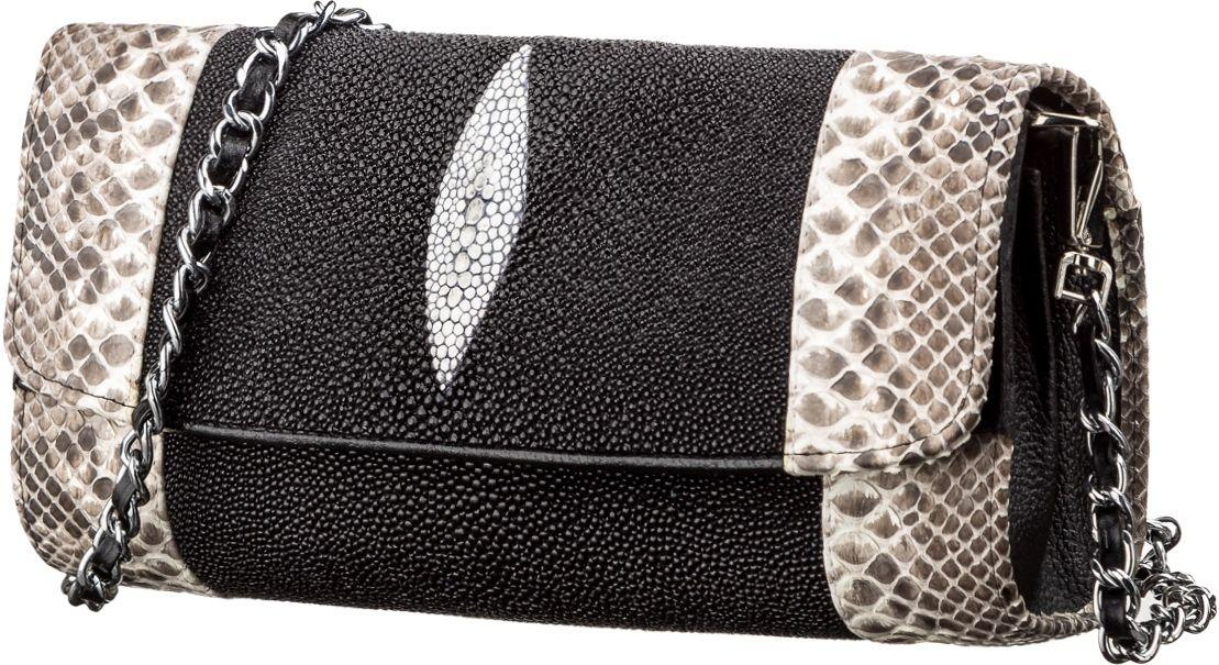 Сумка - Клатч Stingray Leather 18219 Из Натуральной Кожи Морского Ската Черная, Черный