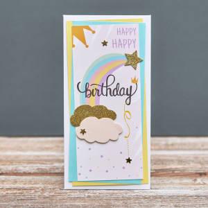 Открытка конверт Happy Birthday облака, звезда и радуга, фото 2