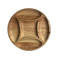 Доска для подачи блюд Менажница деревянная, круглая 05