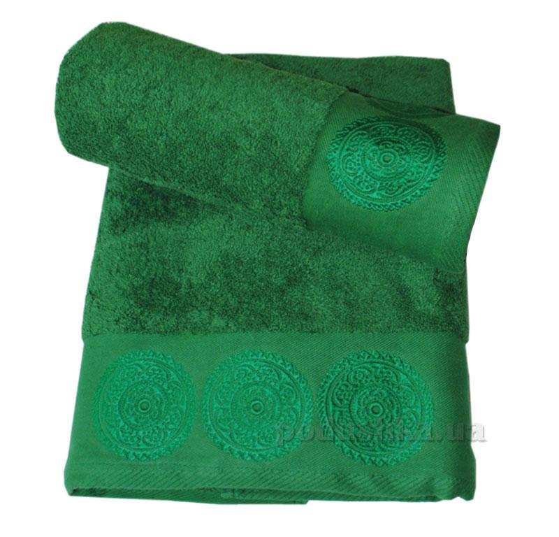 Махровое Полотенце 70х140  (550г/м) Damask Nostra Зелёное с вышивкой