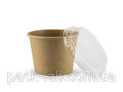 Стакан-креманка 303 мл з пластиковою полукупольною кришкою Крафт