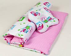 Річний комплект в дитячу коляску BabySoon Ніжні совушки ковдру 65 х 75 см подушка 22 х 26 см рожевий (070)