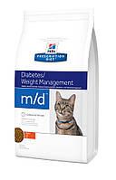Hill's Prescription Diet Feline m/d Diabetes/Weight Management корм для кошек при диабете и ожирении, 1.5 кг, фото 1