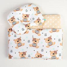 Комплекти в дитячу коляску на літо BabySoon Ведмедики ковдру 65 х 75 см подушка 22 х 26 см бежевий (085)