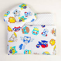 Комплект в коляску летний BabySoon Совы в наушниках одеяло 65 х 75 см подушка 22 х 26 см (090)