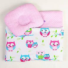 Комплект в коляску річний BabySoon Совушки на ніжно рожевому ковдру 65 х 75 см подушка 22 х 26 см (094)
