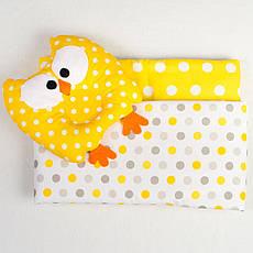 Річний комплект в коляску BabySoon Совушка ковдру 65 х 75 см подушка 22 х 26 см жовтий (091)