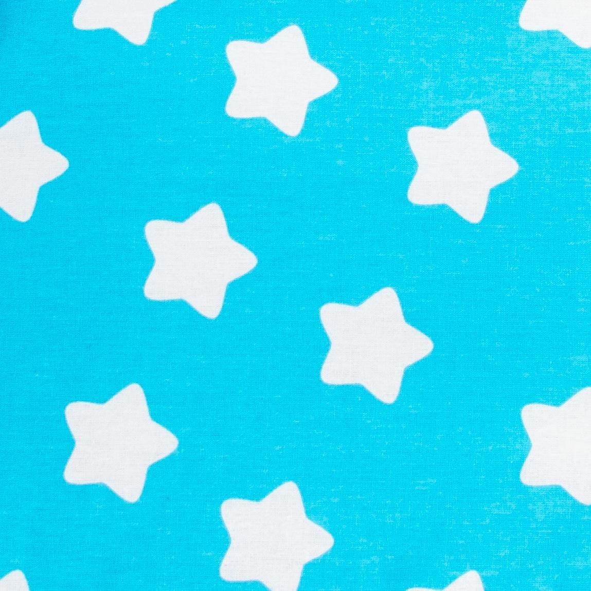Простынь на резинке в детскую коляску BabySoon хлопок Звезды на бирюзе 80 х 40 см (245)