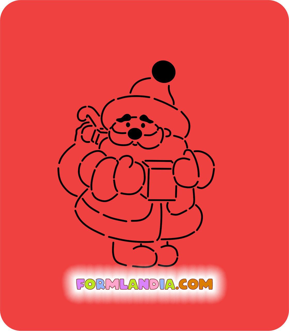 Трафарет + формочка-вырубка для пряника Дед мороз №1