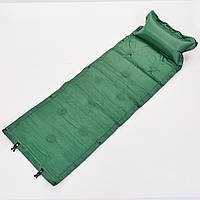 Коврик для кемпинга самонадувающийся с подушкой Zelart Scout 0559 зеленый
