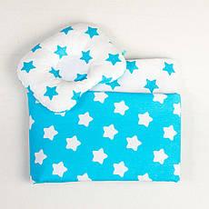 Постільна білизна в дитячу колиску BabySoon три предмета Бірюзові зірки (407)