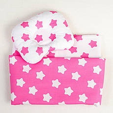 Постільна білизна в дитячу колиску BabySoon три предмета Рожеві зірки (408)
