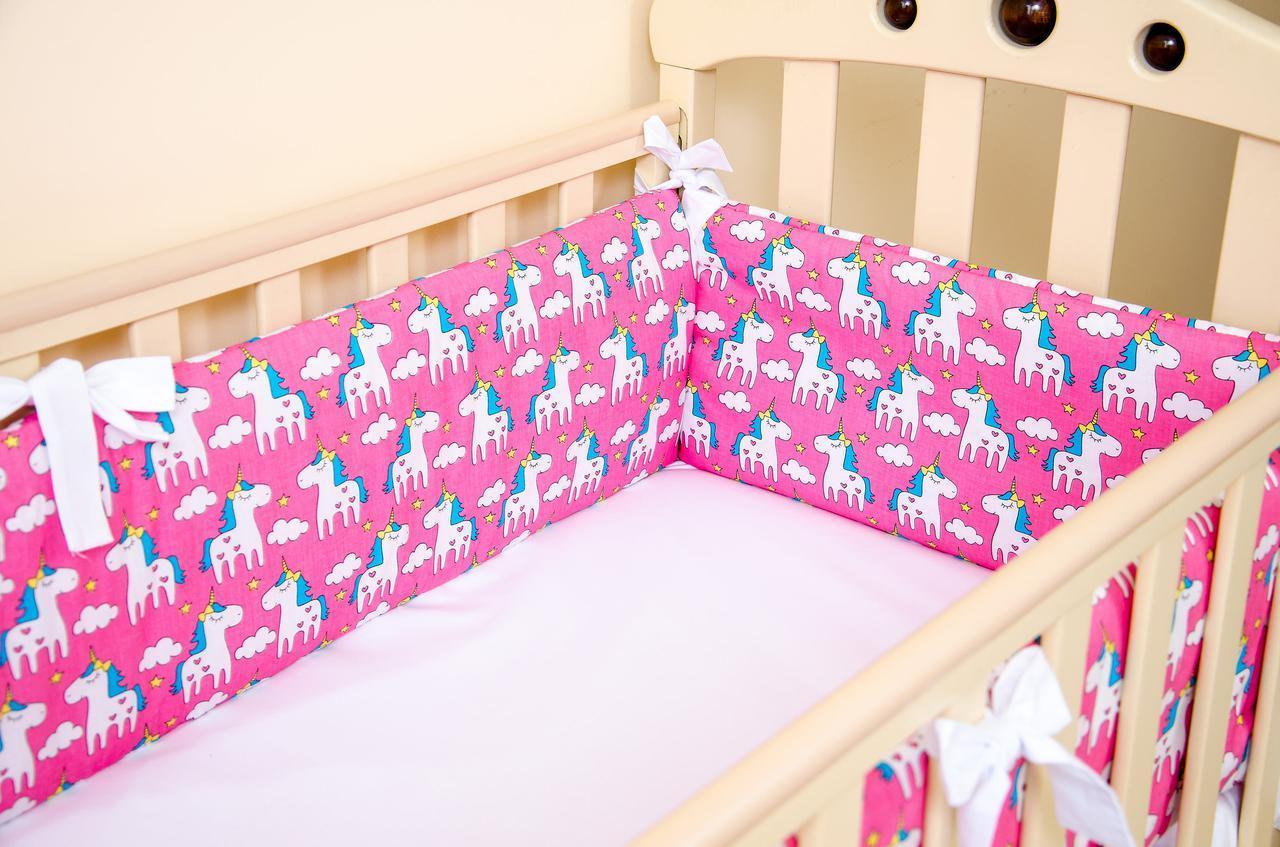 Бортики в детскую кроватку BabySoon Пони Пинк 360см х 27см розовый (500)