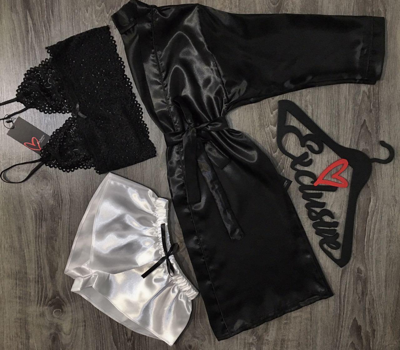 Черно-белый комплект домашней одежды пижама с халатом.