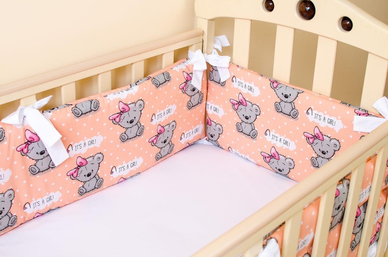 Бортики в детскую кроватку + простынь на резинке BabySoon Медвежата с бантом 360см х 27см, 60см х 120см (520)