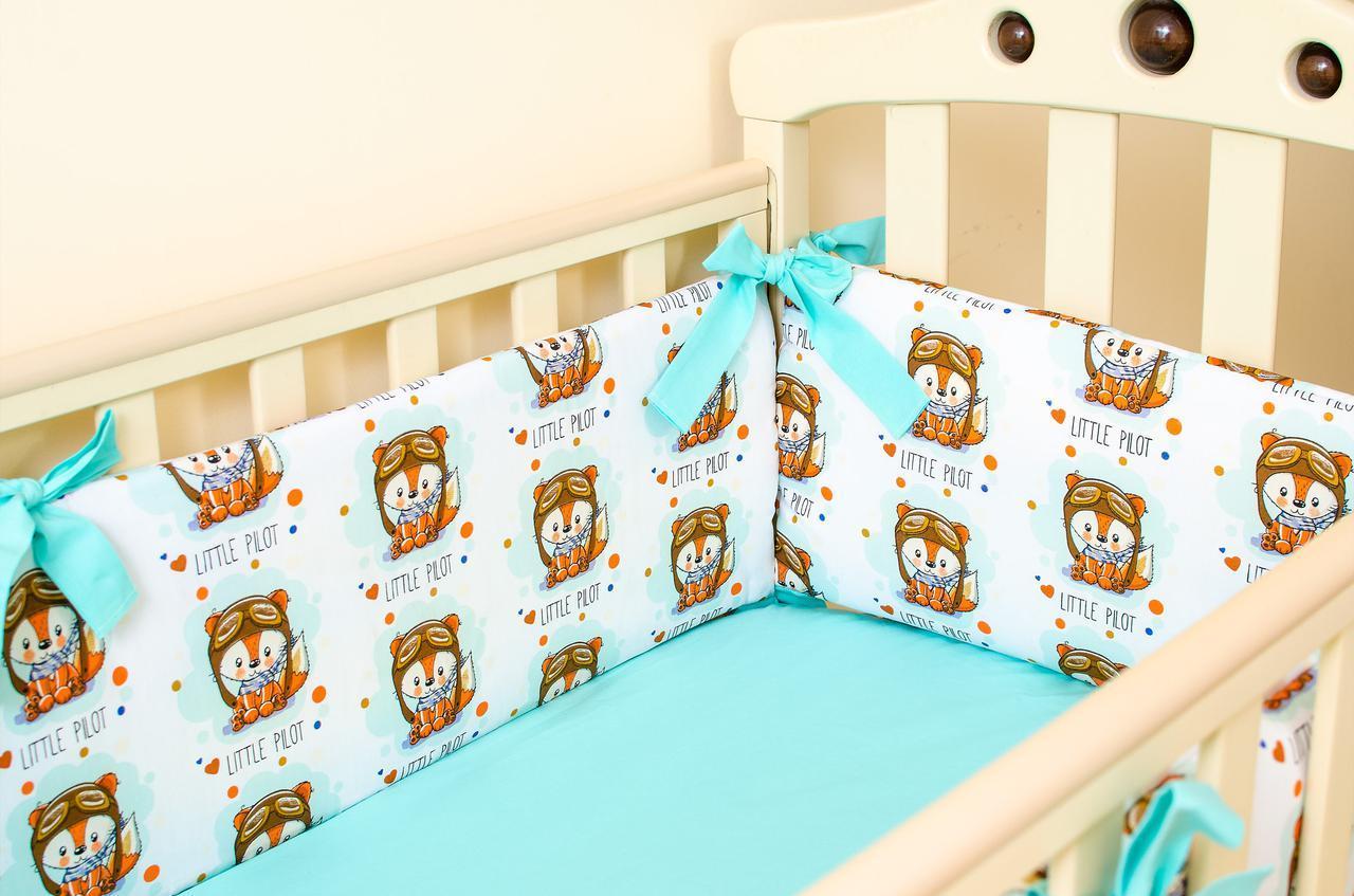 Бортики в детскую кроватку + простынь на резинке BabySoon Лисенок пилот 360см х 27см простынь 60смх120см(525)