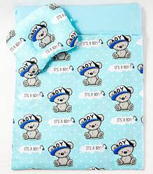 Річний комплект в коляску BabySoon Ведмедики в кепці ковдру 65 х 75 см подушка 22 х 26 см (582)