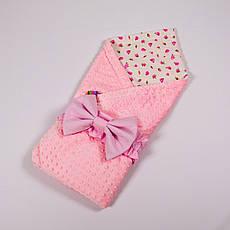 Річний конверт-ковдру на виписку BabySoon 78х85см Рожеві трояндочки з рожевим плюшем