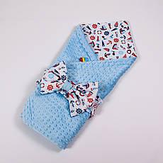 Річний конверт-ковдру на виписку BabySoon 78х85см Морячок плюш
