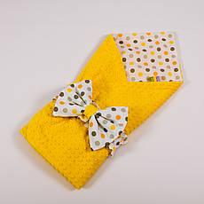 Річний конверт-ковдру на виписку з плюшем жовтого кольору BabySoon 78х85см Сонечко №2