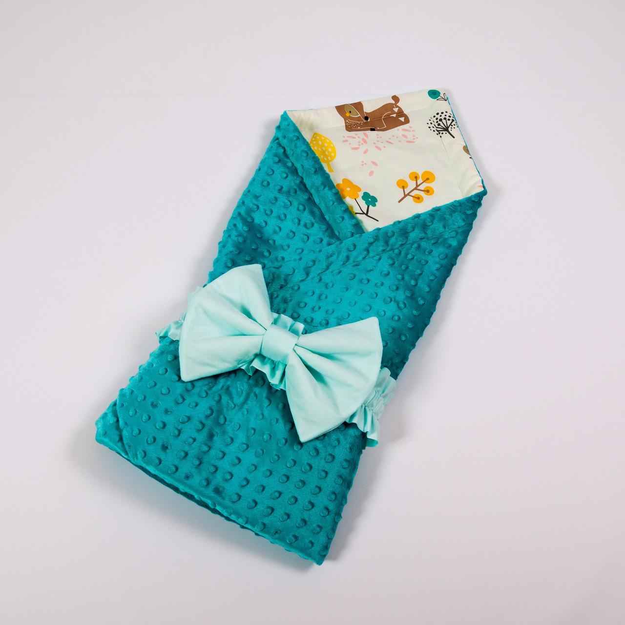 Летний конверт-плед на выписку с плюшем бирюзового цвета BabySoon 78х85см Лесные истории