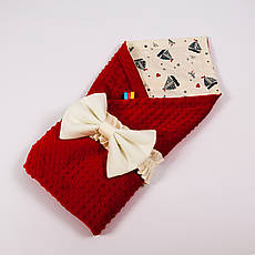 Летний конверт-плед на выписку BabySoon 78х85см Кораблики на бежевом фоне с плюшем красного цвета
