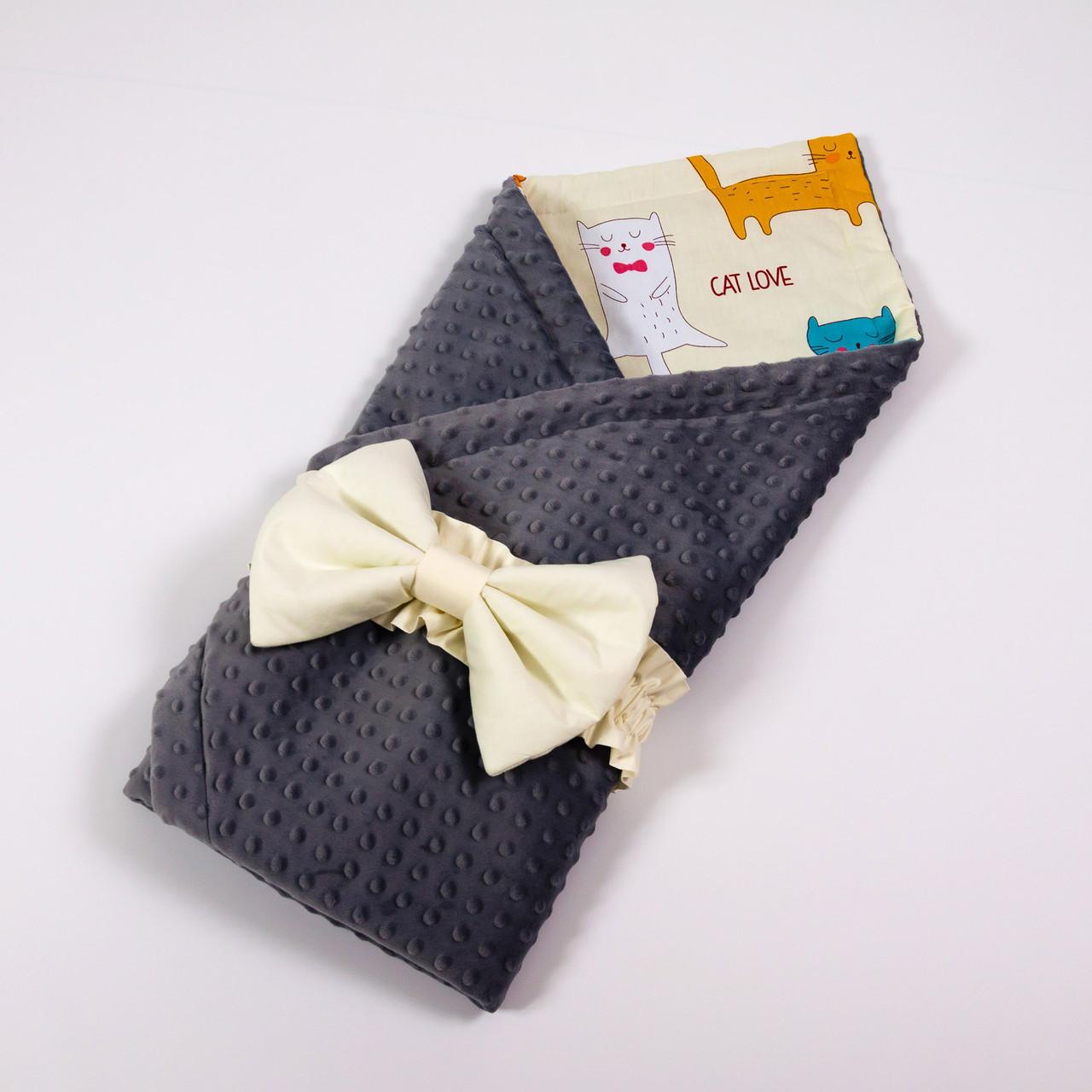 Летний конверт-плед на выписку BabySoon 78х85см Котики