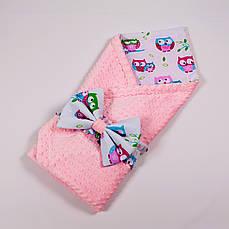 Річний конверт-ковдру на виписку з плюшем рожевого кольору BabySoon 78х85см Ніжні совушки