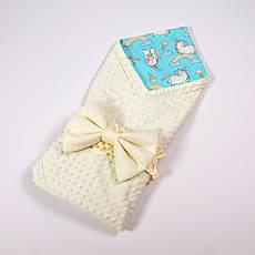 Річний конверт-ковдру на виписку з плюшем молочного кольору BabySoon 78х85см Казкові конячки