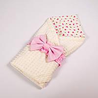 Летний конверт-плед на выписку BabySoon 78х85см Розовые розочки с розовым бантом на молочном плюше