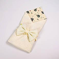 Летний конверт-плед на выписку BabySoon 78х85см Кораблики с молочным бантом на молочном плюше