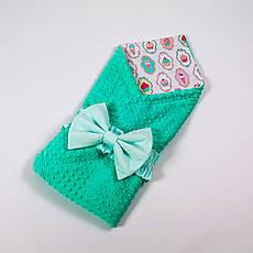 Летний конверт-плед на выписку с плюшем мятного цвета BabySoon 78х85см Мороженое