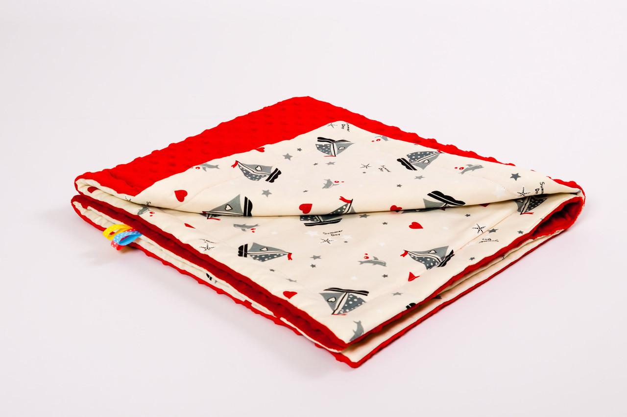 Плед детский плюшевый BabySoon 78х85см Кораблики с плюшем красного цвета