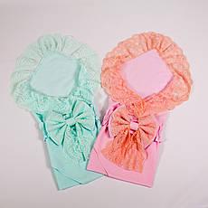 Набор конвертов-пеленок на выписку для близняшек кружевные с бантом BabySoon 78х85см