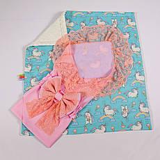 Конверт на виписку річний ніжно рожевий з мереживом + плед поні з молочним плюшем BabySoon 78х85см