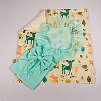 Конверт на выписку летний мятный с кружевом + плед лесные истории с молочным плюшем BabySoon 78х85см