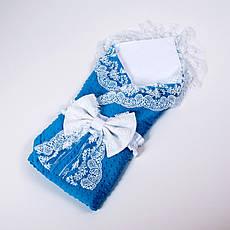 Конверт на выписку летний белый с кружевом + плед забавные с бирюзовым плюшем BabySoon 78х85см