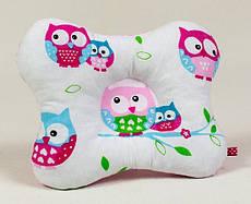 Подушка для немовлят ортопедична метелик BabySoon Ніжні совушки 22 х 26 см рожева (138)